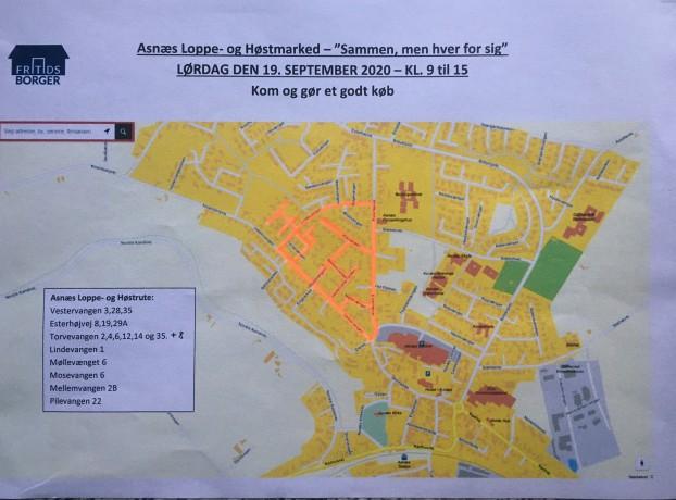 Loppemarked kort over byen